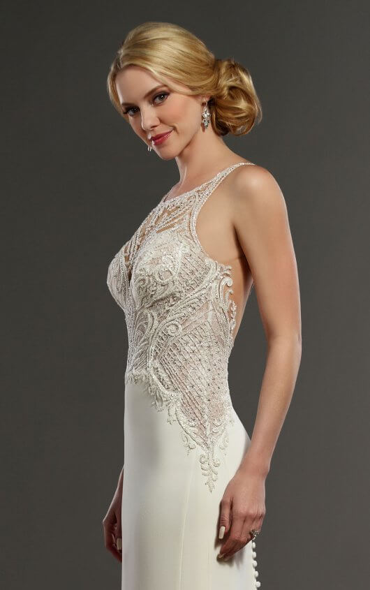 Mira Couture Martina Liana 875 Wedding Dress Bridal Gown Chicago Salon Boutique Side Detail