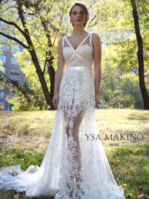 Mira Couture Ysa Makino Bridal Gown Wedding Dress Chicago Boutique Salon Front 69084