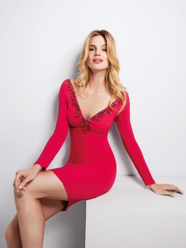 Mira Couture Atelier Pronovias Giro Evening Gown Cocktail Dress Chicago Boutique Front