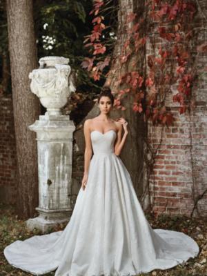 Mira Couture Justin Alexander Signature Wedding Dress Bridal Gown 9858 Chicago Boutique Salon Front