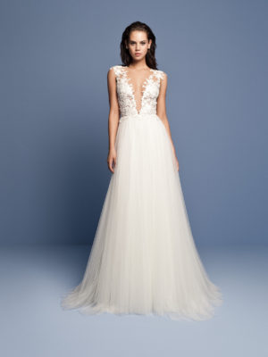 Mira Couture Daalarna Ocean 415 Wedding Dress Bridal Gown Chicago Boutique Front