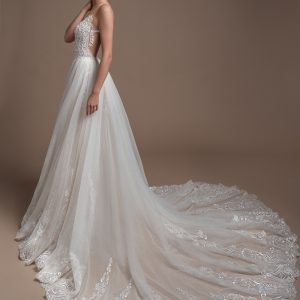 Mira Couture Elihav Sasson FG-049 Wedding Gown Bridal Dress Chicago Boutique Back Over Skirt