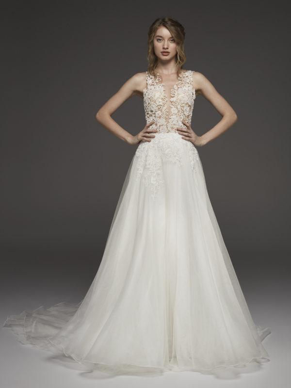 Mira Couture Atelier Pronovias Hadda Wedding Dress Bridal Gown Chicago Boutique Front