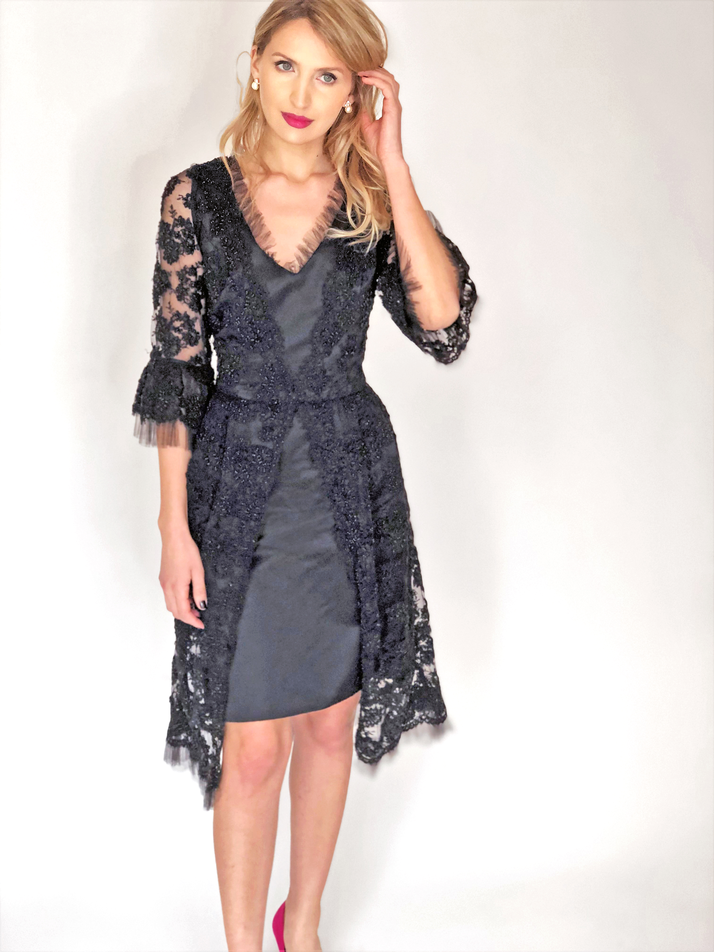 Mira Couture Chicago Boutique Black Lace Bell Sleeve Custom Dress