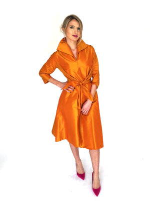 Mira Couture Chicago Boutique Silk Orange Taffeta Custom Dress