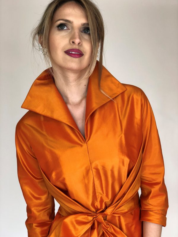 Mira Couture Chicago Boutique Silk Orange Taffeta Custom Dress Detail