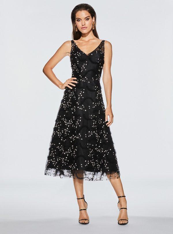 4c4550fb570 3461 by Frascara. Black tea-length a-line cocktail dress ...