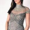 Mira Couture Chicago Stephen Yearick 10391x Beaded Collar Dress Detail