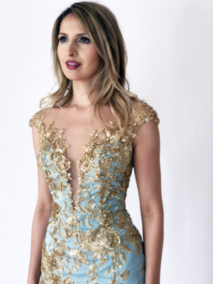 Mira Couture Stephen Yearick 10396x Chicago Boutique Gold Beaded Front Detail