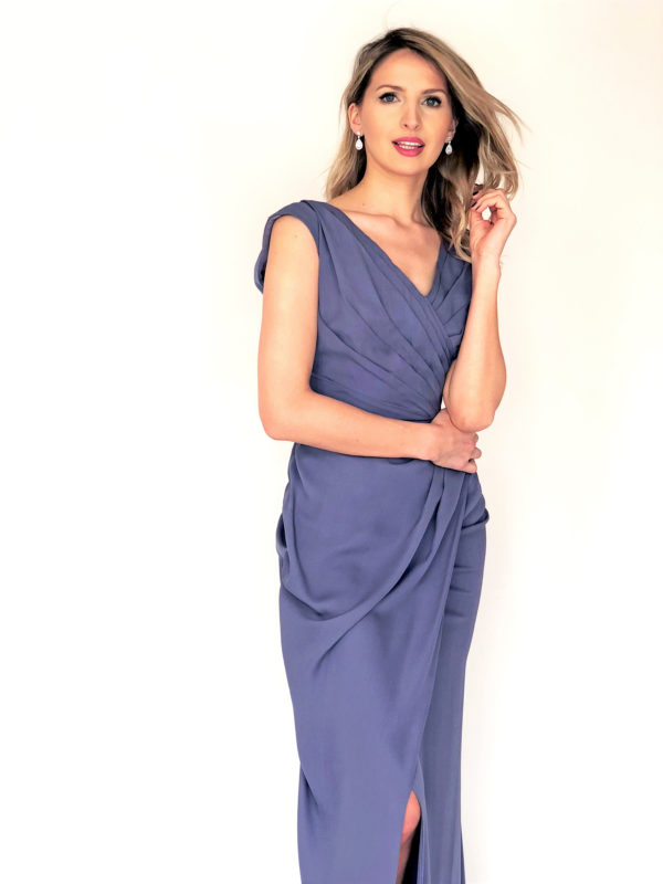 Mira Couture Chicago Boutique Lavender Silk Georgette Pleated Custom Design Dress Detail
