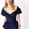 Mira Couture Chicago Boutique Custom Design Navy Taffeta Peplum Gown Front Detail