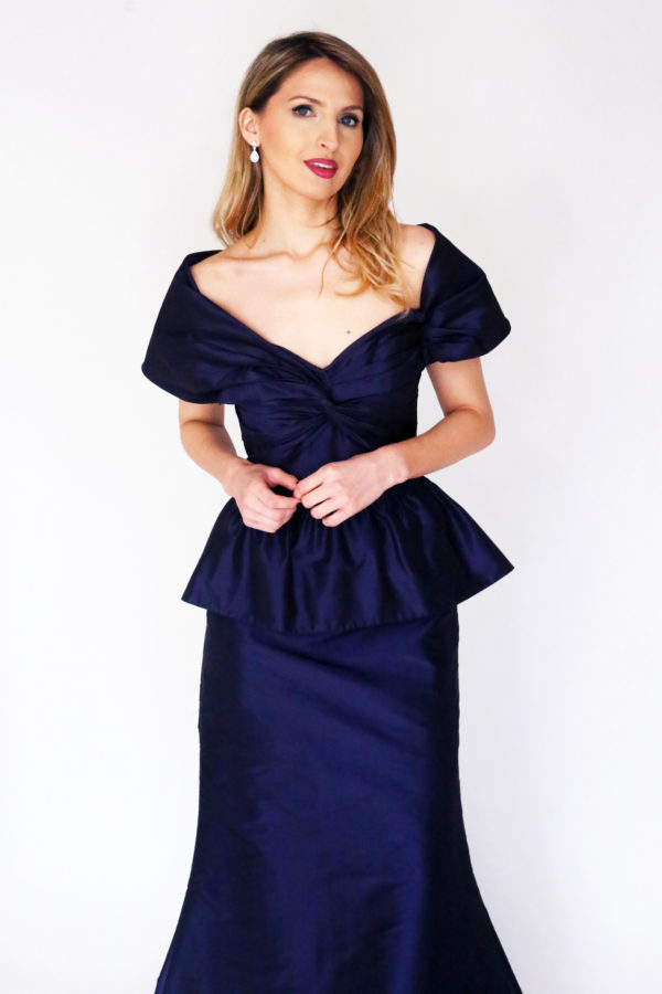 Mira Couture Chicago Boutique Custom Design Navy Taffeta Peplum Gown Front