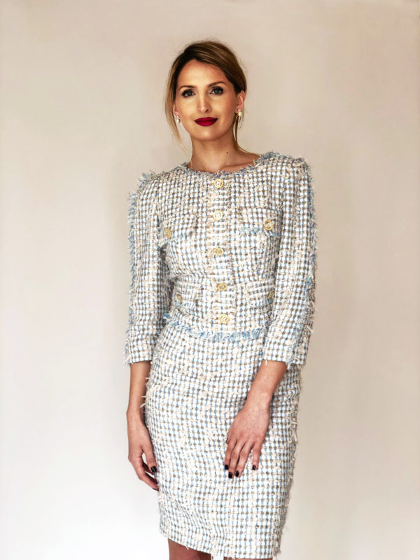 Pale Blue Chanel Tweed Dress By Mira Couture