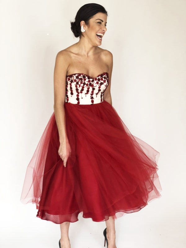 1d9ccaf8f ... Mira Couture Chicago Boutique Custom Design Red White Beaded Floral  Tulle Skirt