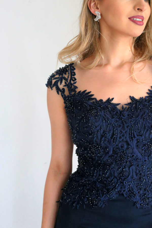 Mira Couture Stephen Yearick 14136x Evening Wear Navy Beaded Top Crepe Skirt Detail