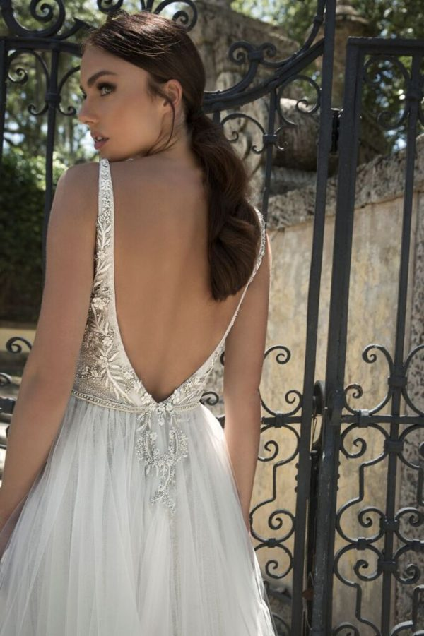 Mira Couture Netta Benshabu Israeli Designer Andriana Wedding Dress Bridal Gown Chicago Boutique Back Detail