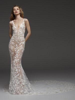 Mira Couture Atelier Pronovias Coralie Wedding Dress Bridal Gown Chicago Boutique Front