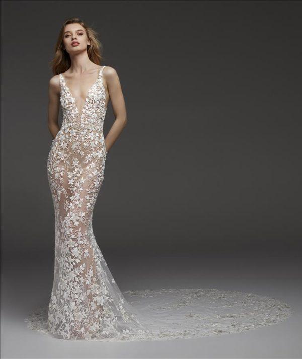 Mira Couture Atelier Pronovias Coralie Wedding Dress Bridal Gown Chicago Boutique Front