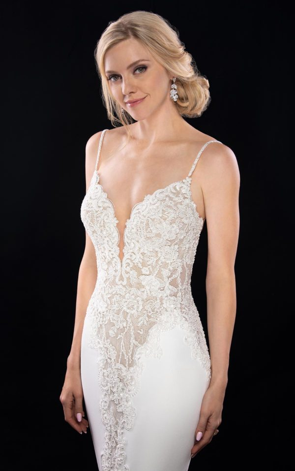 Mira Couture Martina Liana 1004 Wedding Dress Bridal Gown Chicago Boutique Front Detail