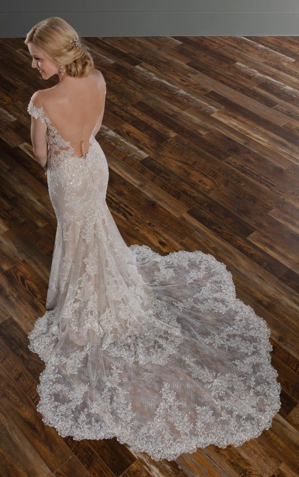 Mira Couture Martina Liana 1047 Wedding Dress Bridal Gown Chicago Boutique Train Detail
