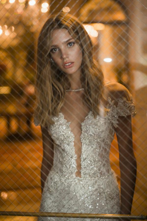 Mira Couture Netta Benshabu Kris Wedding Dress Bridal Gown Chicago Boutique Front Detail