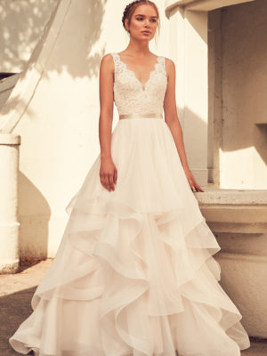 Mira Couture Paloma Blanca 4798 Wedding Dress Bridal Gown Chicago Boutique Front