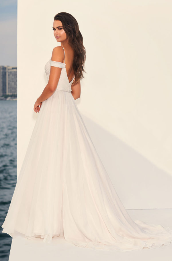 Mira Couture Paloma Blanca 4834 Wedding Dress Bridal Gown Chicago Boutique Back Full