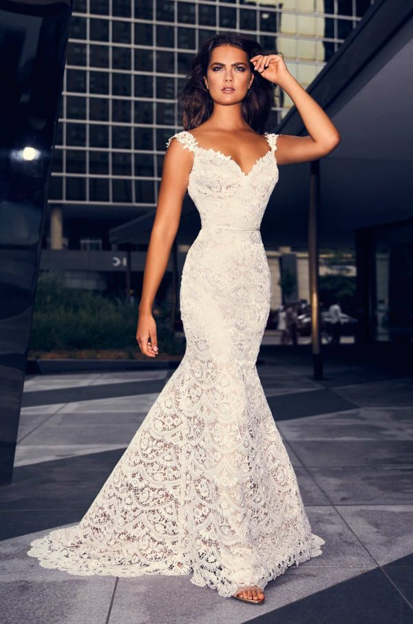 Mira Couture Paloma Blanca 4840 Wedding Dress Bridal Gown Chicago Boutique Front Full