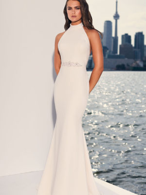 Mira Couture Paloma Blanca 4841 Wedding Dress Bridal Gown Chicago Boutique Front Full