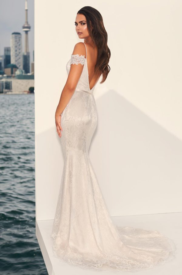 Mira Couture Paloma Blanca 4843 Wedding Dress Bridal Gown Chicago Boutique Back Full