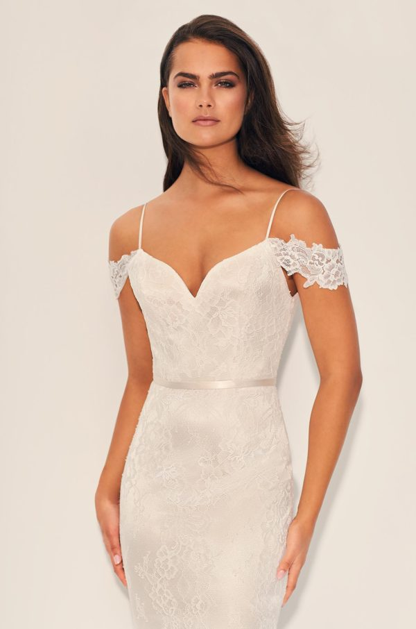Mira Couture Paloma Blanca 4843 Wedding Dress Bridal Gown Chicago Boutique Front Detail