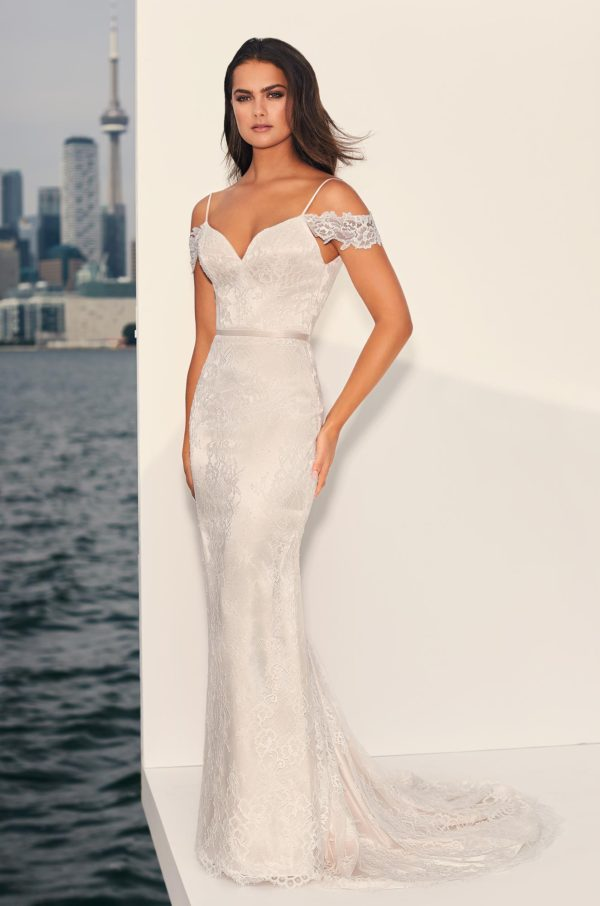 Mira Couture Paloma Blanca 4843 Wedding Dress Bridal Gown Chicago Boutique Front Full