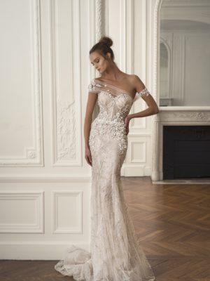 Mira Couture Netta Benshabu Chai Wedding Dress Bridal Gown Chicago Boutique Full Front