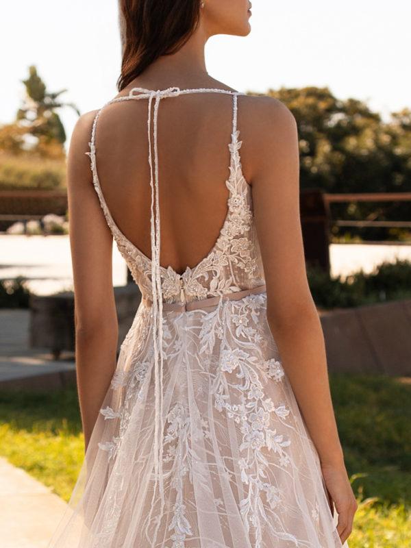 Mira Couture Pronovias Hyperion Wedding Dress Bridal Gown Barcelona Designer Chicago Boutique Back Detail 1
