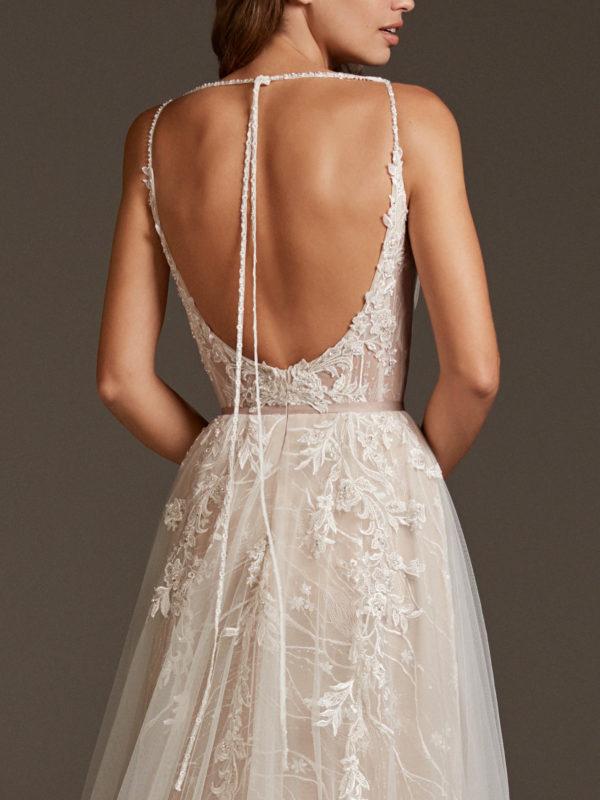 Mira Couture Pronovias Hyperion Wedding Dress Bridal Gown Barcelona Designer Chicago Boutique Back Detail