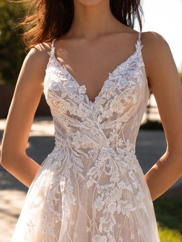 Mira Couture Pronovias Hyperion Wedding Dress Bridal Gown Barcelona Designer Chicago Boutique Front Detail 1