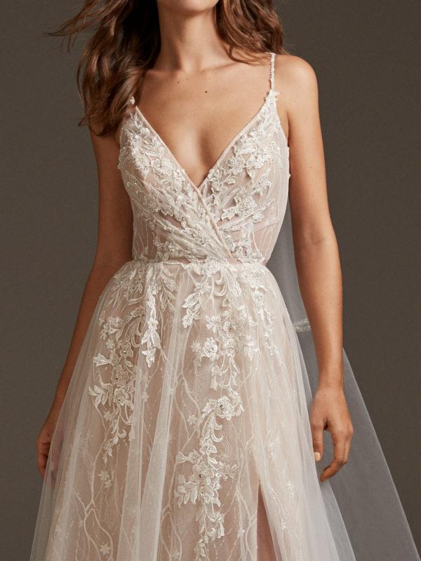 Mira Couture Pronovias Hyperion Wedding Dress Bridal Gown Barcelona Designer Chicago Boutique Front Detail