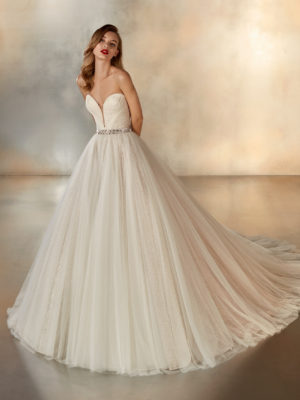 Mira Couture Pronovias Night Wedding Dress Bridal Gown Barcelona Designer Chicago Boutique Full