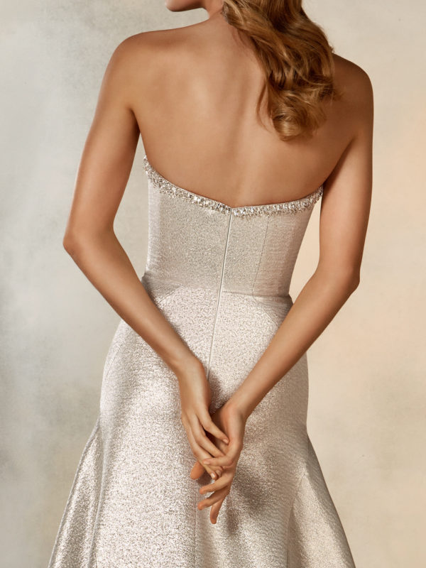 Mira Couture Pronovias Rising Wedding Dress Bridal Gown Barcelona Designer Chicago Boutique Back Detail