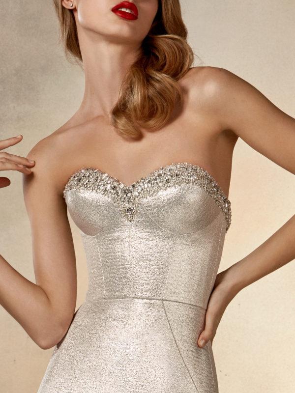 Mira Couture Pronovias Rising Wedding Dress Bridal Gown Barcelona Designer Chicago Boutique Front Detail
