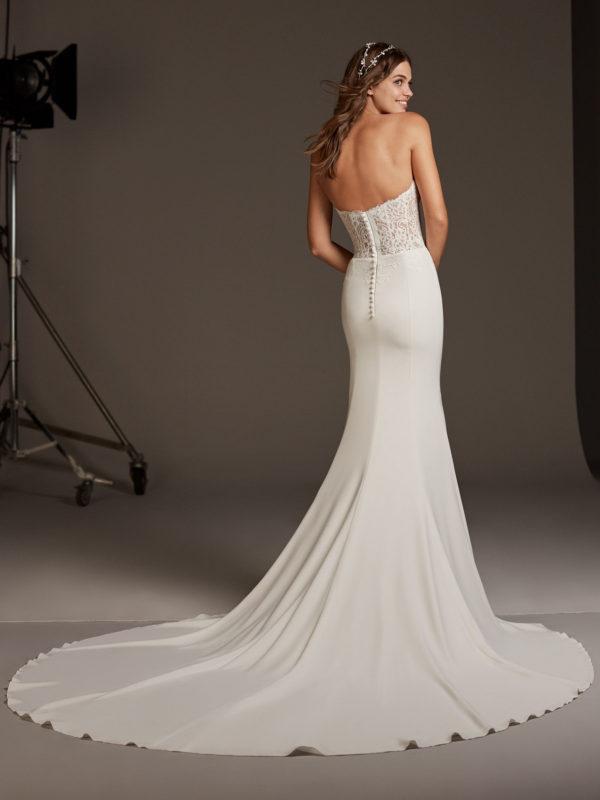 Mira Couture Pronovias Vela Wedding Dress Bridal Gown Barcelona Designer Chicago Boutique Back