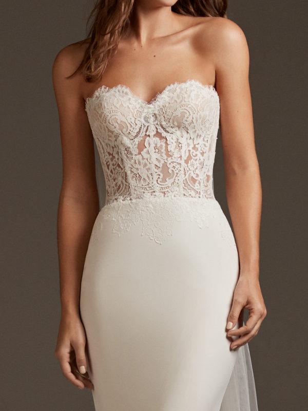 Mira Couture Pronovias Vela Wedding Dress Bridal Gown Barcelona Designer Chicago Boutique Front Detail