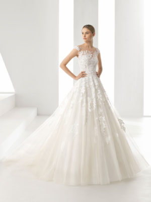 Mira Couture Rosa Clara Denis Wedding Dress Bridal Gown Chicago Boutique Front Full